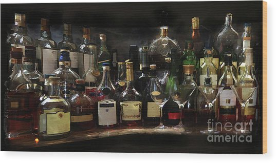 Bar Pano Wood Print