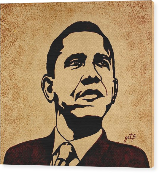 Barack Obama Original Coffee Painting Wood Print