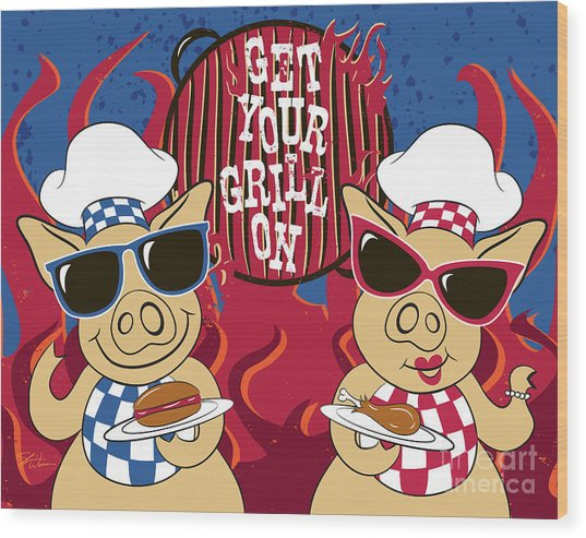 Barbecue Pigs Wood Print