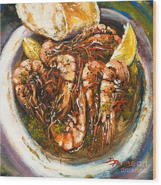 Barbequed Shrimp Wood Print