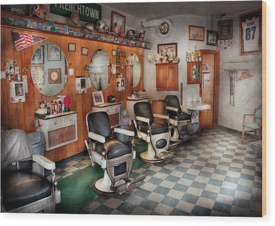 Barber - Frenchtown Barbers  Wood Print