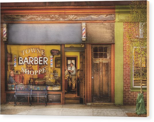 Barber - Towne Barber Shop Wood Print