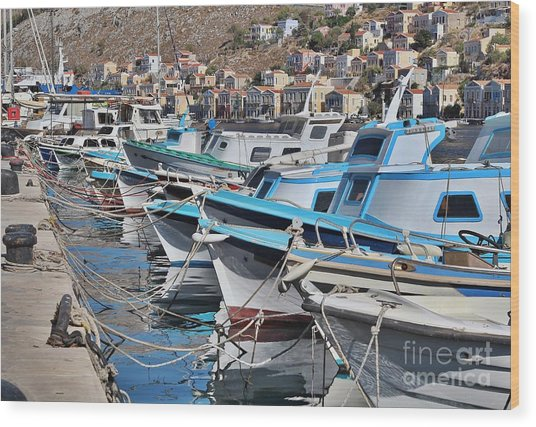 Harbour Of Simi Wood Print