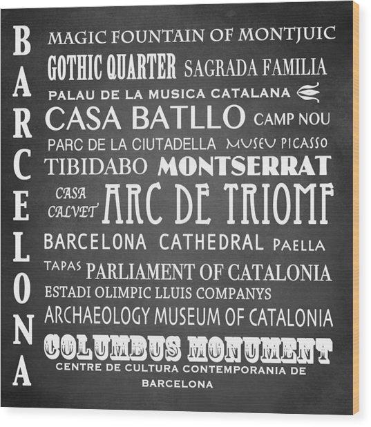 Barcelona Famous Landmarks Wood Print