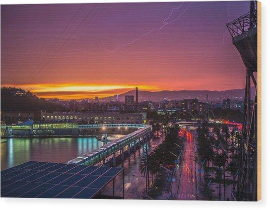 Barcelona Lightning Storm Wood Print by Ryan McKee