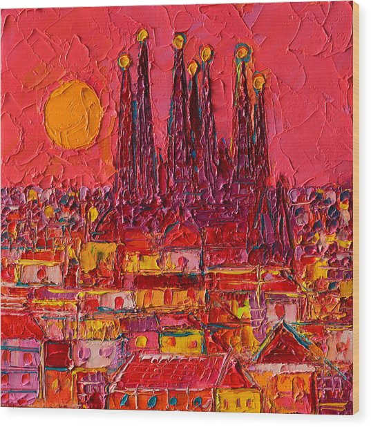 Barcelona Moon Over Sagrada Familia - Palette Knife Oil Painting By Ana Maria Edulescu Wood Print