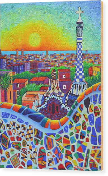 Barcelona Park Guell Sunrise Gaudi Tower Textural Impasto Knife Oil Painting By Ana Maria Edulescu Wood Print