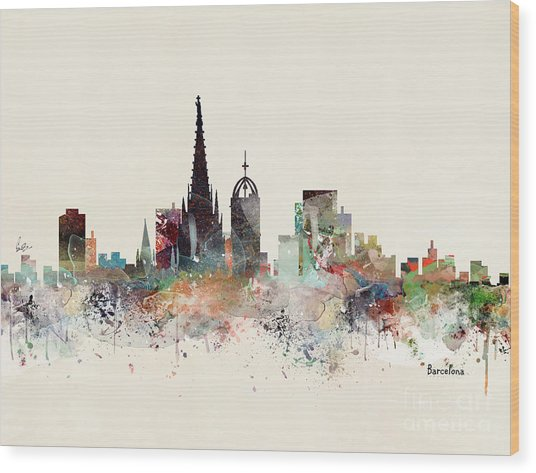 Barcelona Skyline Wood Print