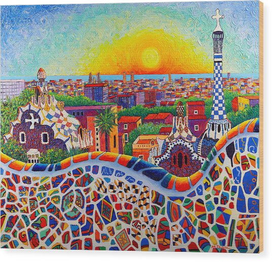 Barcelona Sunrise Colors From Park Guell Modern Impressionism Knife Oil Painting Ana Maria Edulescu Wood Print