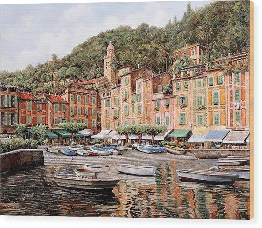 barche a Portofino Wood Print