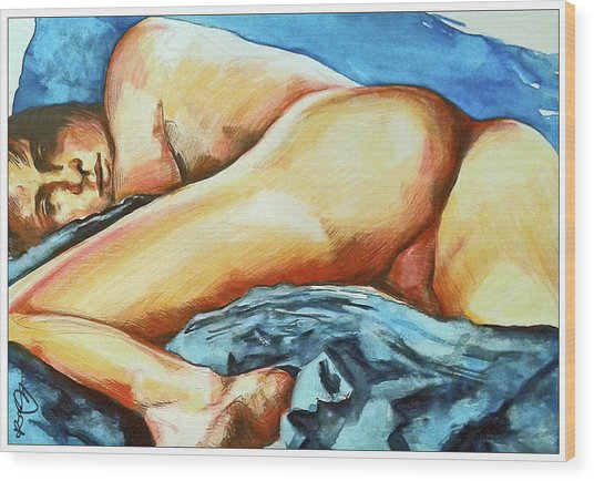 Wood Print featuring the painting Naked Bare Truth by Rene Capone