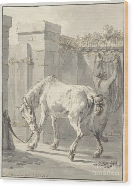 Bareback Horse By The Bridle Attached To A Pole Wood Print
