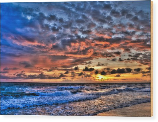 Barefoot Beach Sunset Wood Print by Rich Leighton