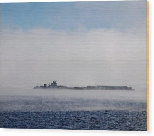 Barge In Morning Fog Wood Print by Larry Nielson