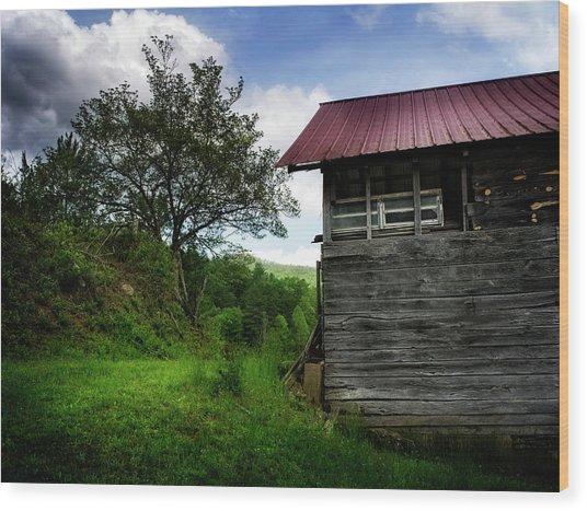 Barn After Rain Wood Print