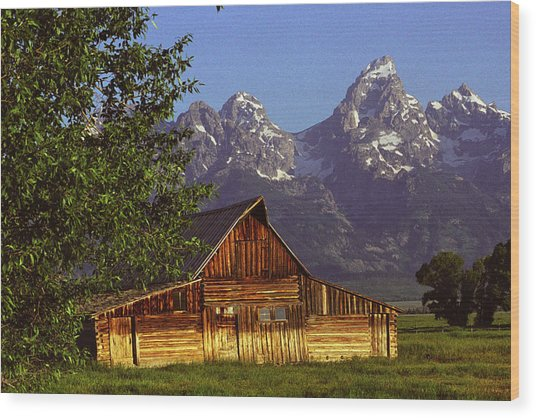 Barn Against Tetons Wood Print