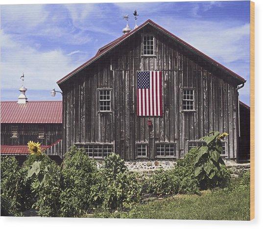 Barn And American Flag Wood Print