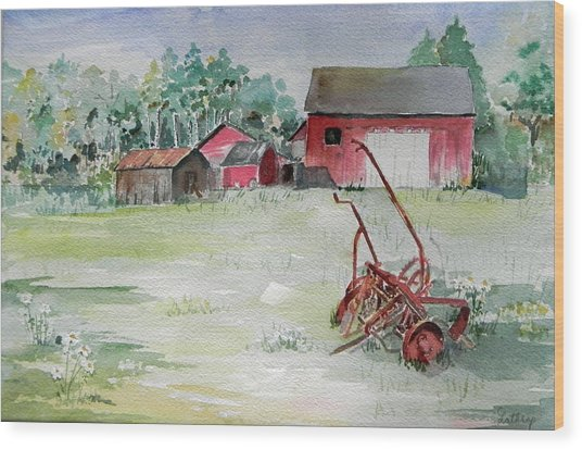 Barn And Cultivator Wood Print