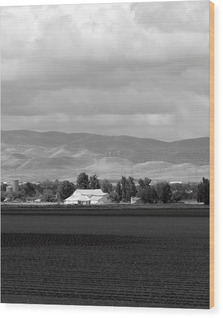 Barn And Plowed Fields Tracy Ca Wood Print by Troy Montemayor