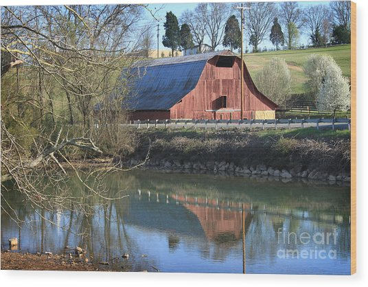 Barn And Reflections Wood Print