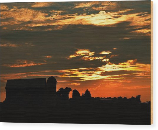 Barn And Silo At Sunset Wood Print