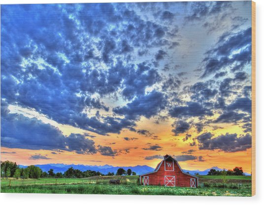 Barn And Sky Wood Print