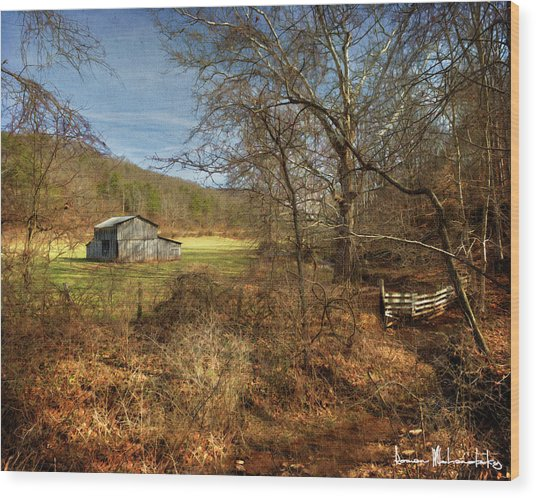 Barn And Stream Wood Print