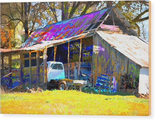 Barn And Truck Wood Print by Danielle Stephenson