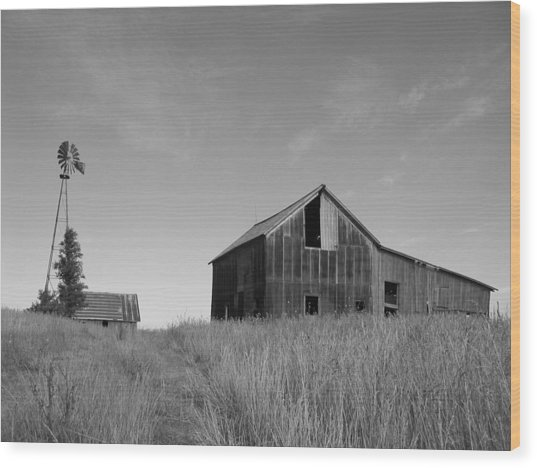 Barn And Windmill II Wood Print