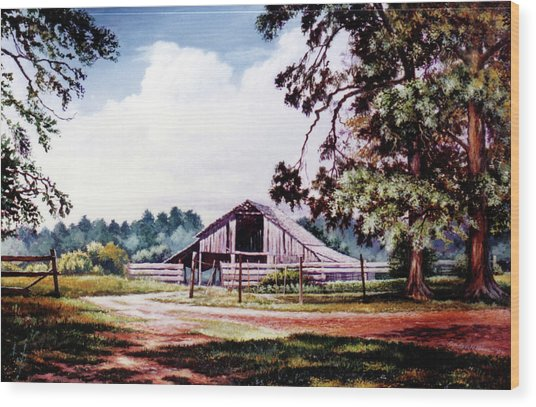 Barn At Honey Island Wood Print
