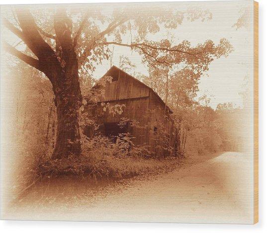 Barn Hocking Co Ohio Sepia Wood Print
