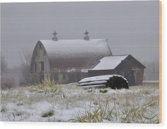Barn In Winter Wood Print