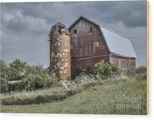 Barn On Hill Wood Print