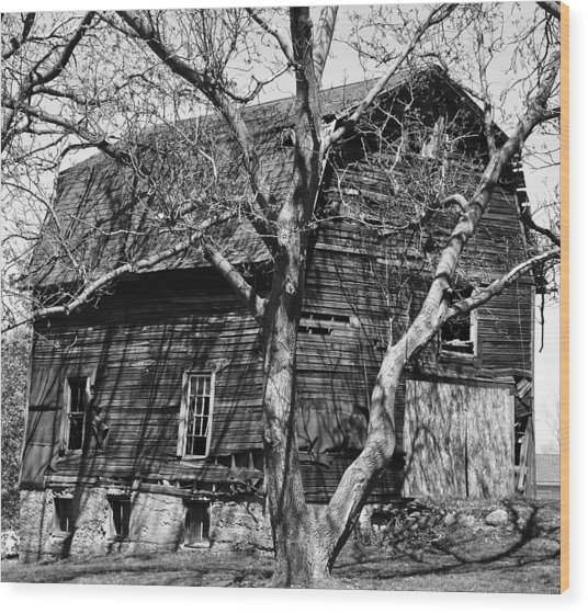 Barn On Stone Foundation Wood Print