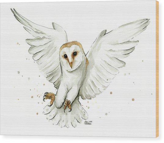 Barn Owl Flying Watercolor Wood Print