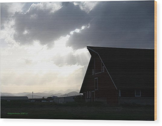 Barn Rays Wood Print by KatagramStudios Photography