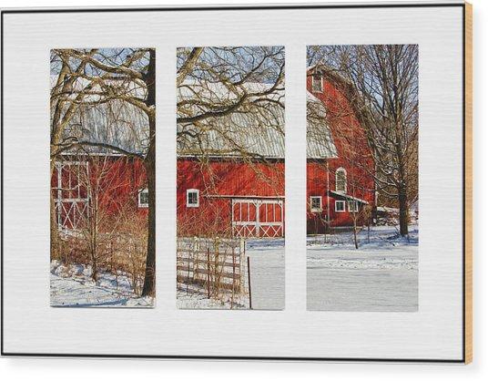 Barn Triptych Wood Print