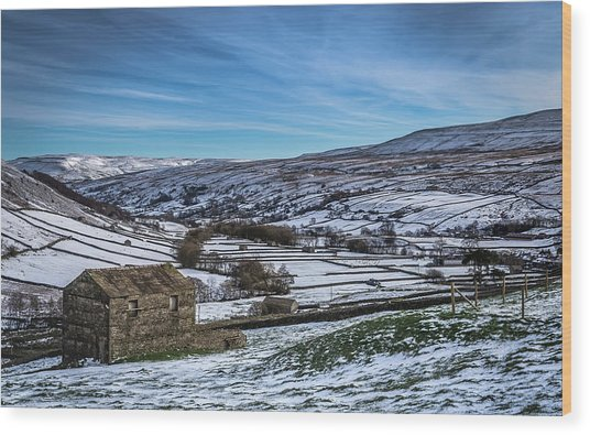 Barn View In The Snow. Wood Print by Yorkshire In Colour
