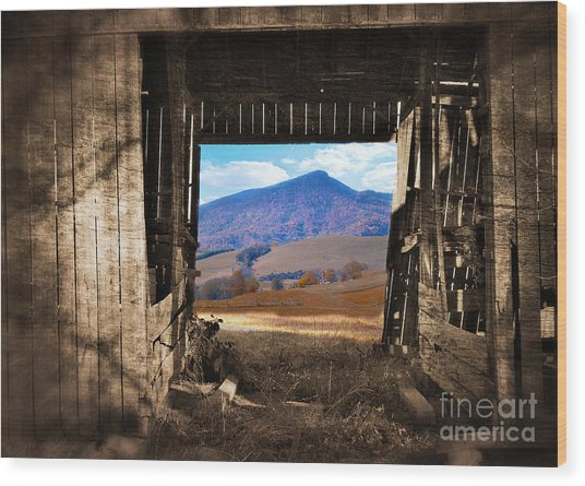 Barn With A View Wood Print by Kathy Jennings