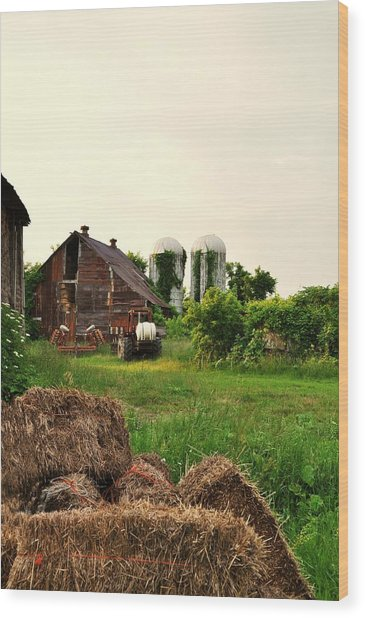 Barn With Silos And Hay Wood Print