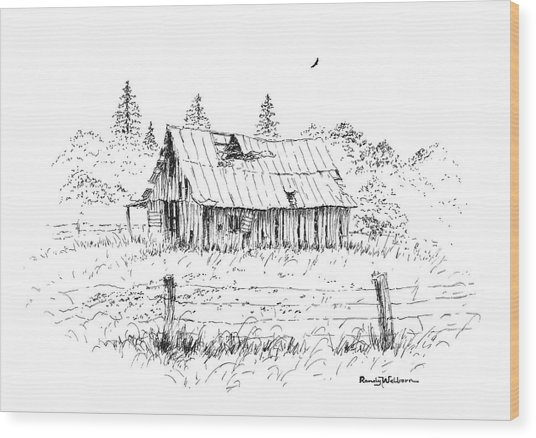 Barn With Skylight Wood Print