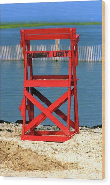 Barnegat Light Lifeguard Chair Wood Print by John Rizzuto