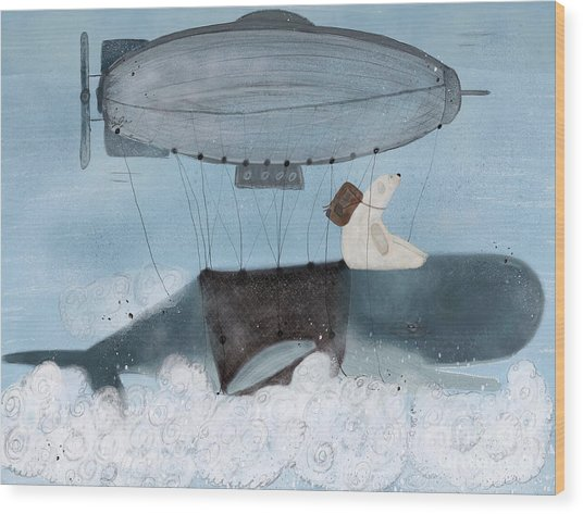 Barney And The Whale Wood Print