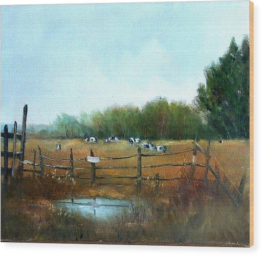 Barnyard Chatter Wood Print by Sally Seago