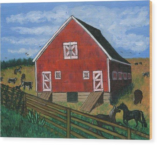 Barnyard On The Prairie Wood Print by Tanna Lee M Wells