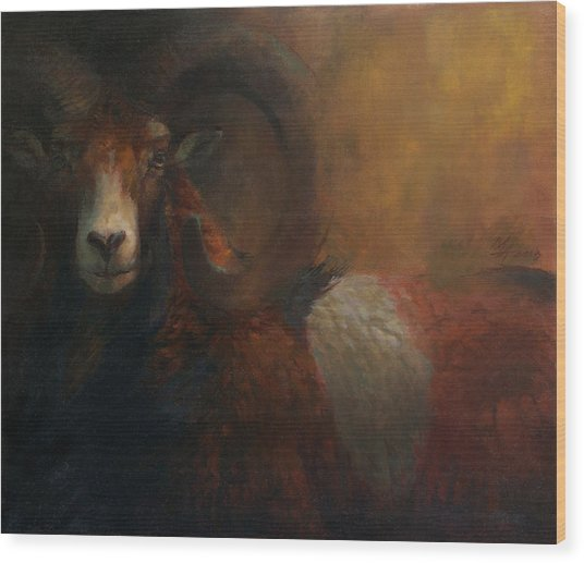 Baroque Mouflon Portrait Wood Print