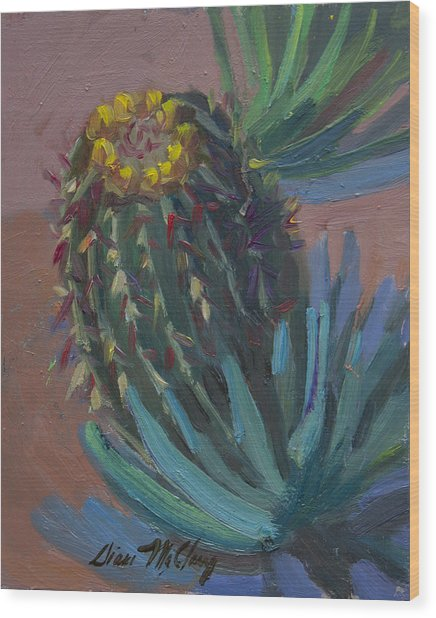 Barrel Cactus In Bloom - Boyce Thompson Arboretum Wood Print