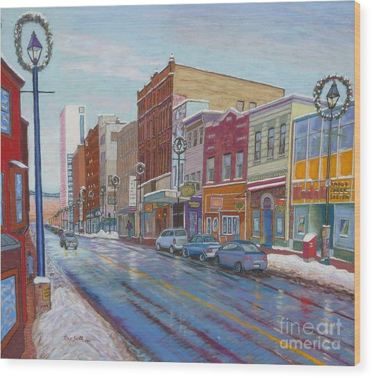 Barrington St In Winter Wood Print