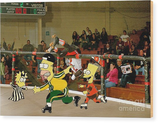 Bart Vs Homer Simpson At The Roller Derby Wood Print