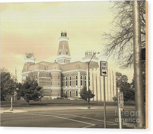 Bartholomew County Courthouse Columbus Indiana - Sepia Wood Print